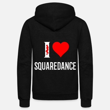 Square I love Square Dance Cowboyhat Squaredance Gift - Unisex Fleece Zip Hoodie