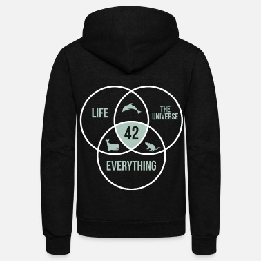 Guide 42 Answer to Everything Universe Life Circle - Unisex Fleece Zip Hoodie