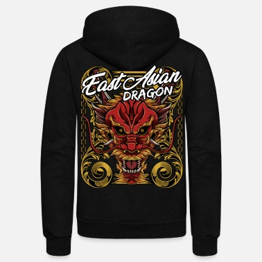 Mythical Beast Cool Chinese Dragon Head Mythical Beast Legendary - Unisex Fleece Zip Hoodie