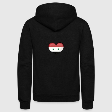 SYRIAN FLAG HEART - Unisex Fleece Zip Hoodie