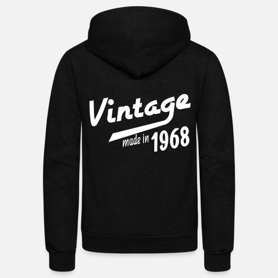 Birthday Hoodies & Sweatshirts - 1968 birth day birthday gift idea born in date - Unisex Fleece Zip Hoodie black