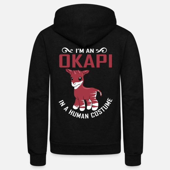Okapi Hoodies & Sweatshirts - Okapi Forest Giraffe Serengeti Africa Safari - Unisex Fleece Zip Hoodie black