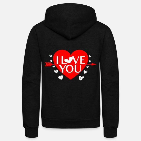 Love Hoodies & Sweatshirts - I Love You Hearts Cupids Arrows Bows Romance - Unisex Fleece Zip Hoodie black
