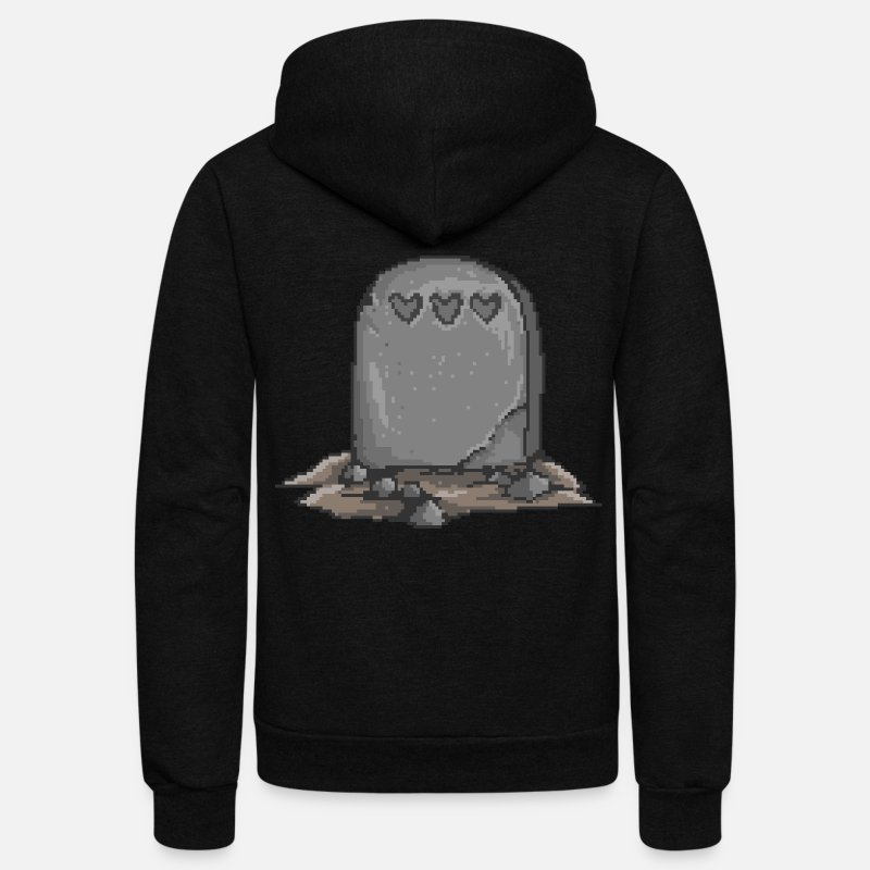 Tech Hoodies & Sweatshirts - No Life Left | Funny Gamer Grave - Unisex Fleece Zip Hoodie black