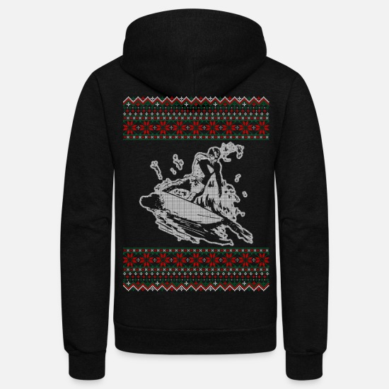 Surfing Hoodies & Sweatshirts - Surfing Ugly Christmas Sweater Tshirt - Unisex Fleece Zip Hoodie black
