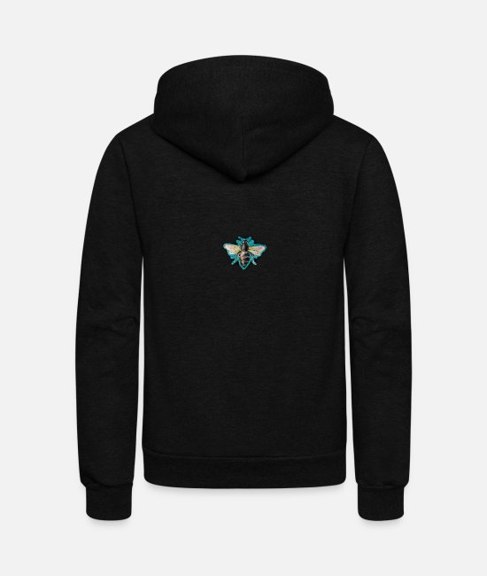 Heart Hoodies & Sweatshirts - Drawn Bee - Unisex Fleece Zip Hoodie black