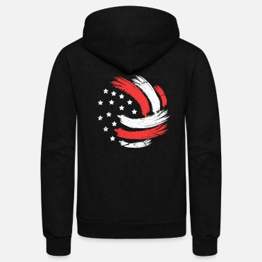 Net Volleyball USA Flag - Unisex Fleece Zip Hoodie