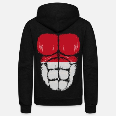 Indonesia Indonesia flag hulk muscles - Unisex Fleece Zip Hoodie