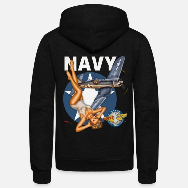 WW2 Navy Corsair Pinup - Unisex Fleece Zip Hoodie