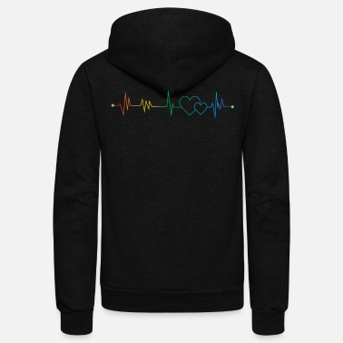 Rainbow Rainbow Heartbeat - Unisex Fleece Zip Hoodie