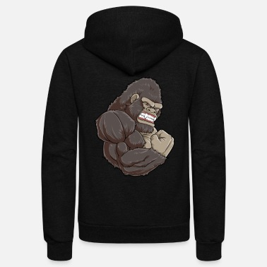 Gorilla Gorilla At The Gym | Fitness Training Muscles - Unisex Fleece Zip Hoodie