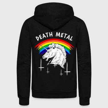Death Metal Rainbow Unicorn - Unisex Fleece Zip Hoodie