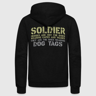 Military Soldier with dog tags - Unisex Fleece Zip Hoodie