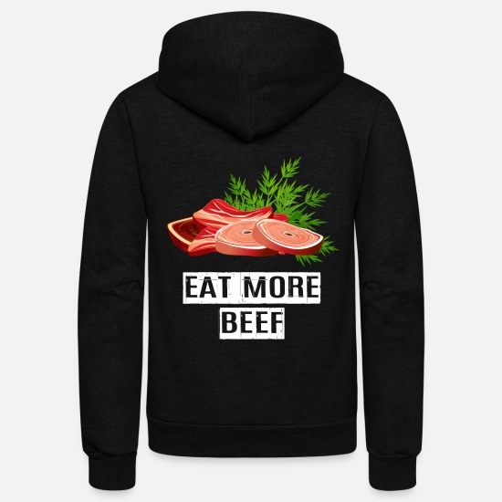 Banner Hoodies & Sweatshirts - Eat more beef - Unisex Fleece Zip Hoodie black