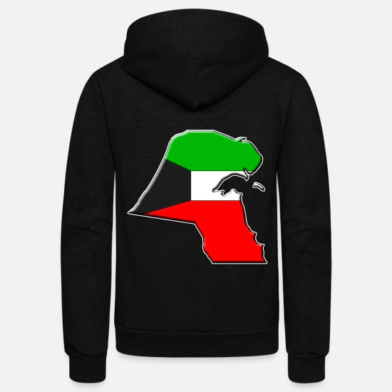 Kuwait Hoodies & Sweatshirts - Kuwait Flag Map - Unisex Fleece Zip Hoodie black