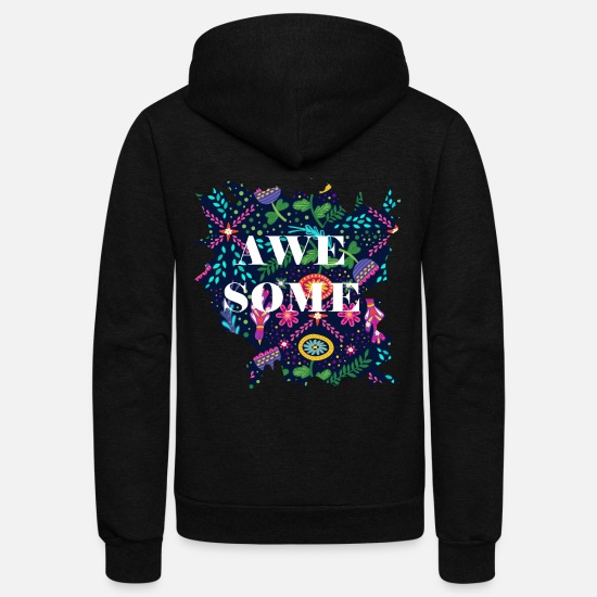 Some Hoodies & Sweatshirts - awe some - Unisex Fleece Zip Hoodie black