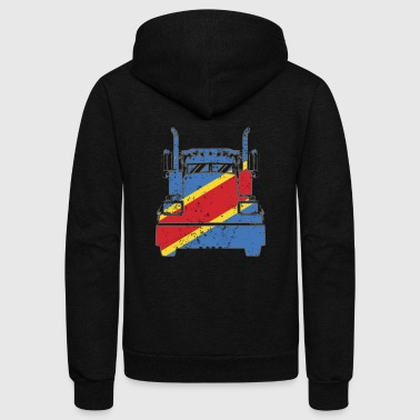 Trucker Shirt Democratic Republic Of Congo Flag - Unisex Fleece Zip Hoodie