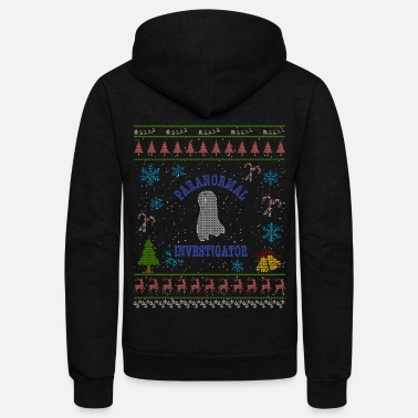 Investigator Paranormal Investigator Christmas Ugly Shirt Ghost Shirt - Unisex Fleece Zip Hoodie