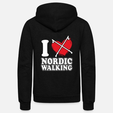 Walking Stick Nordic Walking Sticks - Unisex Fleece Zip Hoodie