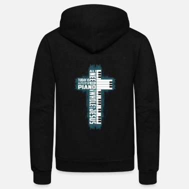 Cross Religion Cross Jesus Christ Piano Keys Music Gift - Unisex Fleece Zip Hoodie