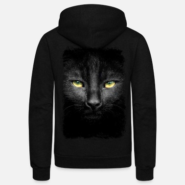 Black Cat Black Loveable Cat Tshirt - Unisex Fleece Zip Hoodie