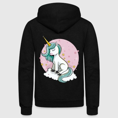 Cute Unicorn - Rainbow Pixie Dust Magic Horse Star - Unisex Fleece Zip Hoodie