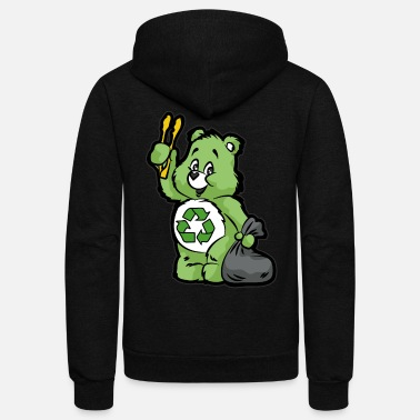 Enviromental TEDDY BEAR RECYCLE RECYCLING TRASH ENVIROMENTAL - Unisex Fleece Zip Hoodie