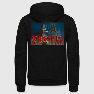 Dracula's Castle at Night with Moon Beam - Unisex Fleece Zip Hoodie