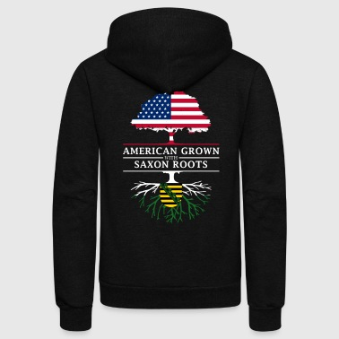 Saxon American Grown with Saxon Roots Saxony Design - Unisex Fleece Zip Hoodie