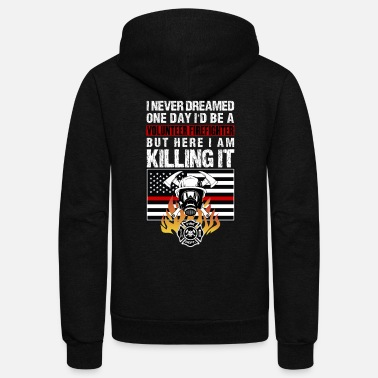 Thin Volunteer Firefighter Hero Thin Red Line - Unisex Fleece Zip Hoodie