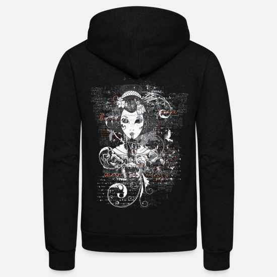 Japanese Hoodies & Sweatshirts - Geisha Illustration - Japanese Art New Custom Made - Unisex Fleece Zip Hoodie black