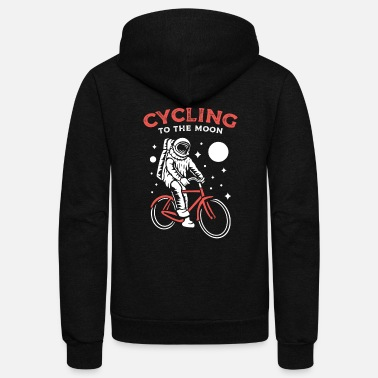 Sport astronaut bicycle cycling - Unisex Fleece Zip Hoodie