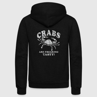 Funny Crabs Are Freaking Tasty Vintage Crab Boil Crabbing Shirt White - Unisex Fleece Zip Hoodie