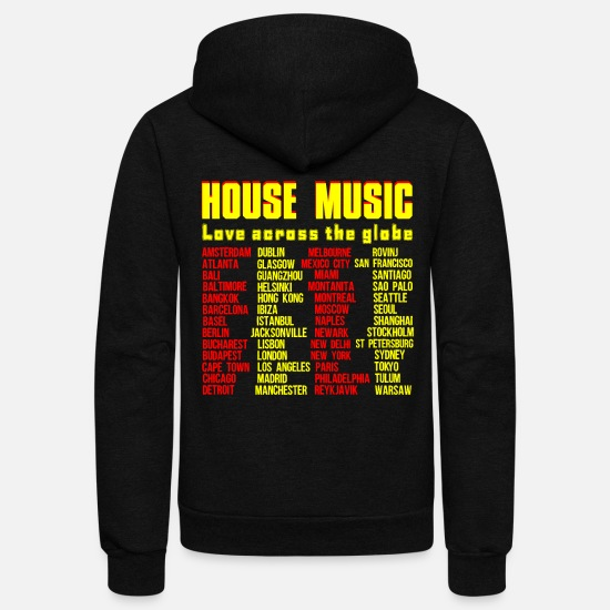 Music Hoodies & Sweatshirts - HOUSE MUSIC LOVE ACROSS THE GLOBE - Unisex Fleece Zip Hoodie black