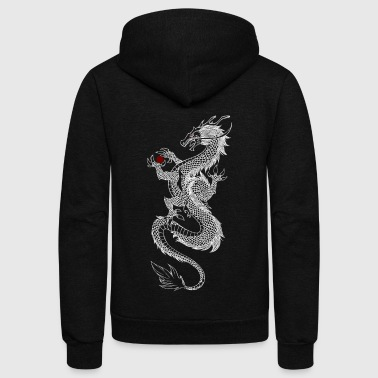 Asian Long Dragon (white) - Unisex Fleece Zip Hoodie