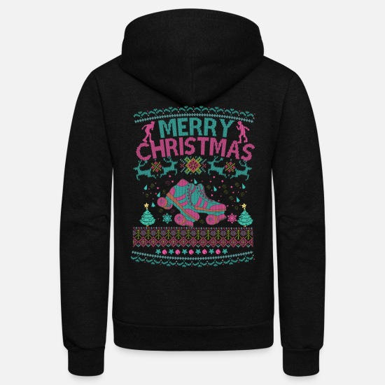 Skate Hoodies & Sweatshirts - Ugly Christmas Roller Skate Girl Women Derby Tee - Unisex Fleece Zip Hoodie black