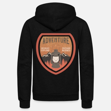 Retro Camping Outdoor Adventure Mountaineering - Unisex Fleece Zip Hoodie