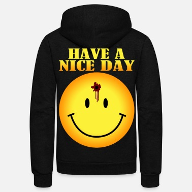Hole smiley face bullet hole - Unisex Fleece Zip Hoodie