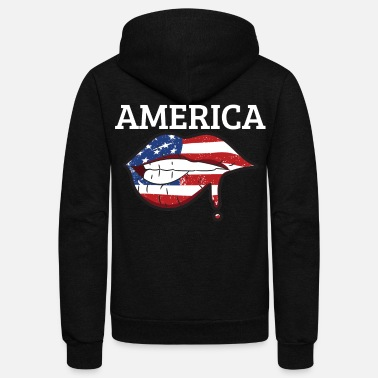 Usa America USA Flag Lip 4th of July - Unisex Fleece Zip Hoodie
