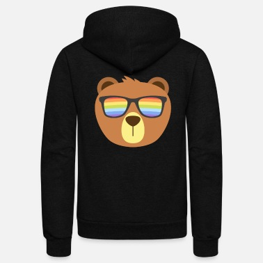 Sunglasses Gay Bear Wearing Bear Pride LGBTQ Flag Sunglasses - Unisex Fleece Zip Hoodie