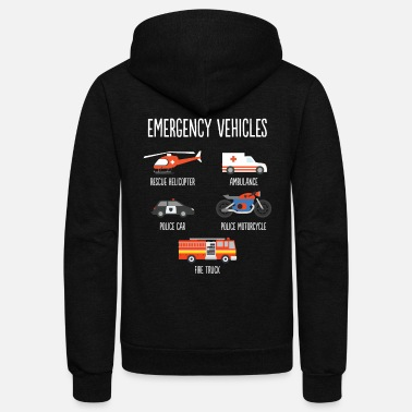 Vehicle Types of Emergency Vehicles Vehicles - Unisex Fleece Zip Hoodie