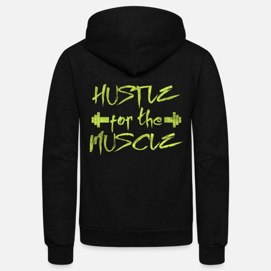 Muscle Hoodies & Sweatshirts - HUSTLE for the MUSCLE - Unisex Fleece Zip Hoodie black