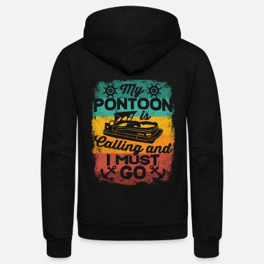 Pontoon Pontoon Boat Lake Boating Pontooning Fathers Day - Unisex Fleece Zip Hoodie