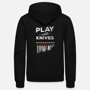 Icon Plays with knives chef cooking t shirt - Unisex Fleece Zip Hoodie