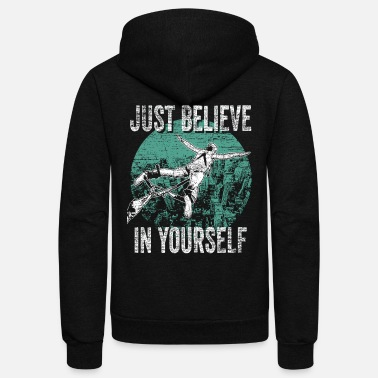 Rubber Rope Bunggee Jumping Belive - Unisex Fleece Zip Hoodie