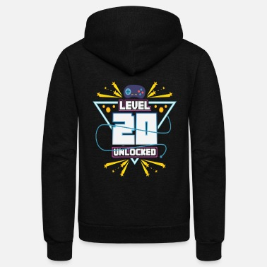 Video Level Up Typical Gamer Gaming Nerd 20 Player Gift - Unisex Fleece Zip Hoodie
