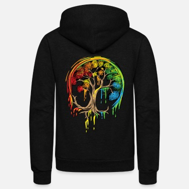 Children Colorful Tree Life is really good Tree Art Shirt - Unisex Fleece Zip Hoodie