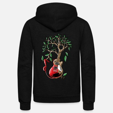 Music Note Guitar music shirt Guitar player watercolor tree - Unisex Fleece Zip Hoodie