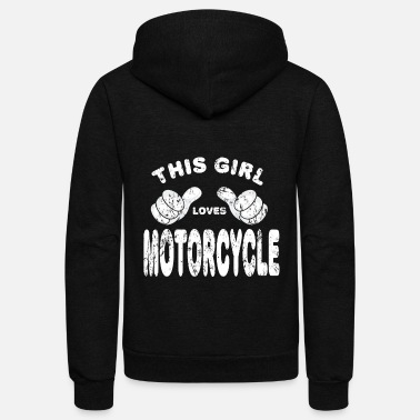Motorcycle Motorcycle Biker girl woman - Unisex Fleece Zip Hoodie