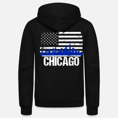 Chicago Chicago Skyline Distressed American Flag - Unisex Fleece Zip Hoodie